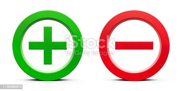 Green Plus sign and red Minus sign isolated on white background, three-dimensional rendering, 3D illustration
