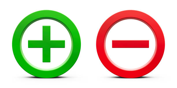 Plus & Minus signs Green Plus sign and red Minus sign isolated on white background, three-dimensional rendering, 3D illustration minus sign stock pictures, royalty-free photos & images