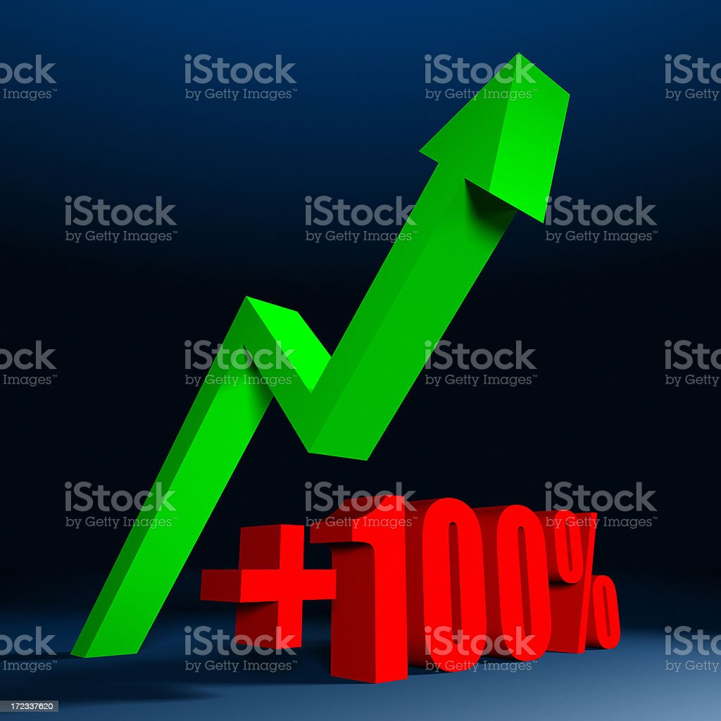 Plus One Hundred Percent XL royalty-free stock photo