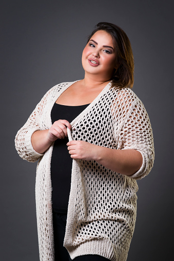 Plus Size Fashion Model In Casual Clothes Fat Woman On