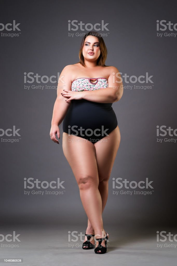 42f2562ca Plus Size Fashion Model In Sexy Swimsuit Young Fat Woman On Gray ...