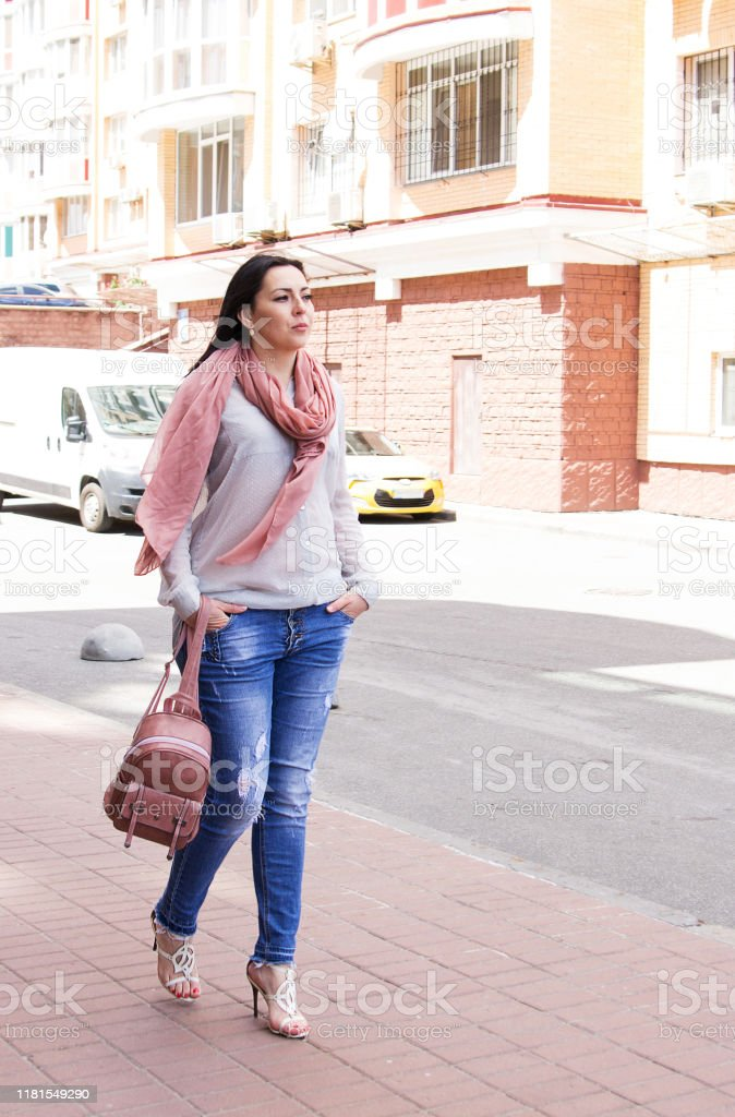 Plus Size Girl In Casual Clothes In Urban Style Stock Photo Download Image Now Istock