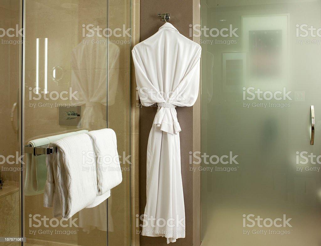 Plush bathrobe in upscale bathroom stock photo