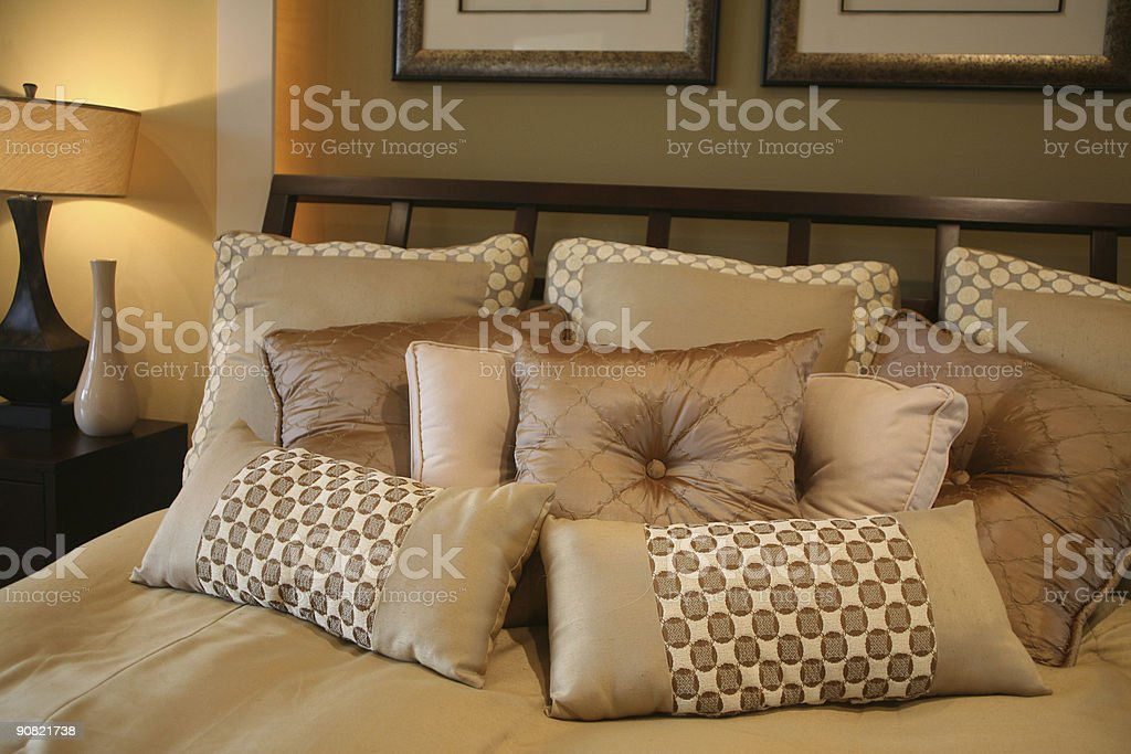 Plush Bedroom Pillows royalty-free stock photo