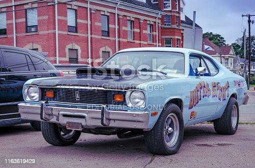 Truro, Nova Scotia, Canada - July 14, 2019 : 1976 Plymouth Duster drag race car at Annual Blaikies Mopar Show & Shine.