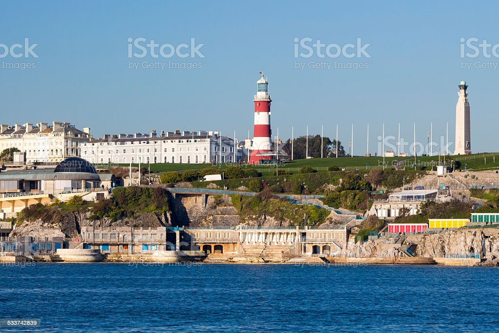 Plymouth Hoe from Mount Batten stock photo