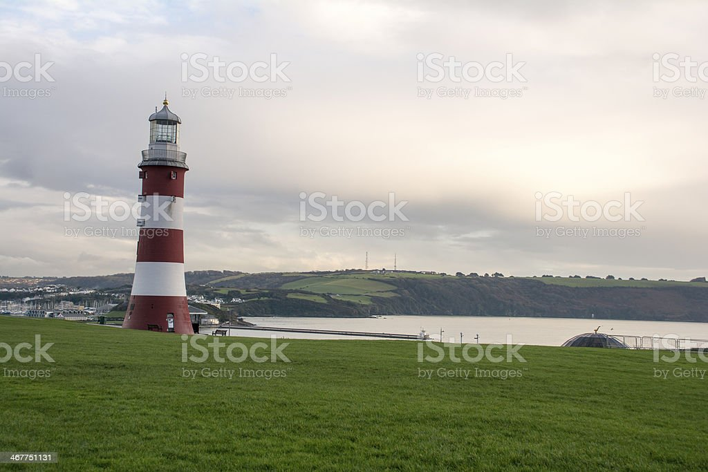 Plymouth Hoe Smeatons Tower royalty-free stock photo