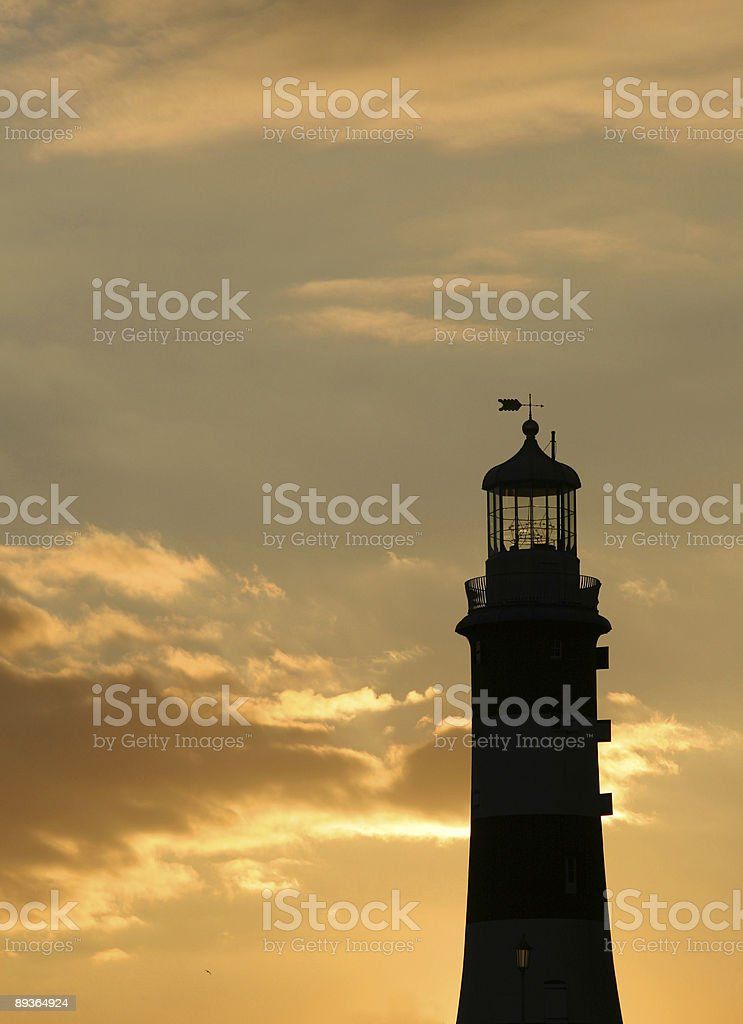 Plymouth lighhouse in sunset royalty-free stock photo