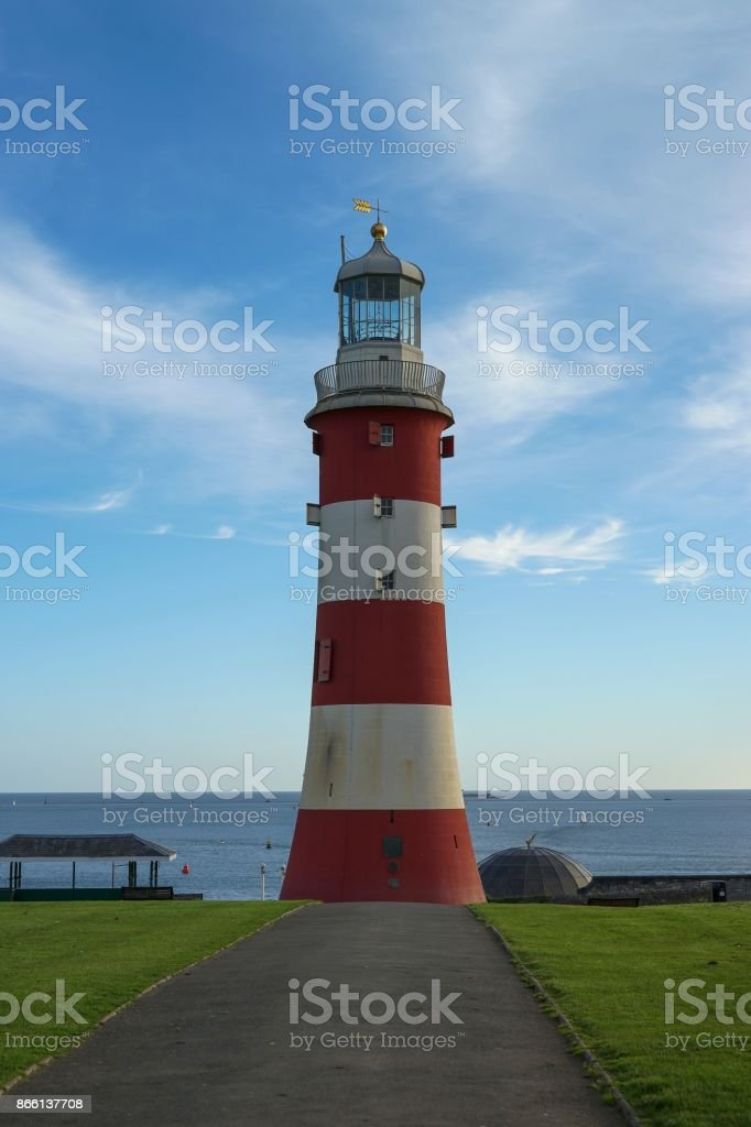 Plymouth red and white lighthouse stock photo