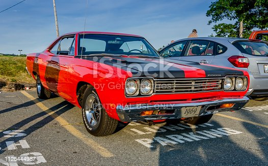 Dartmouth, Nova Scotia, Canada - August 3, 2017: 1969 Plymouth Roadrunner muscle car on display at weekly summer A&W Cruise-in, Woodside Ferry parking lot, Dartmouth, Nova Scotia.