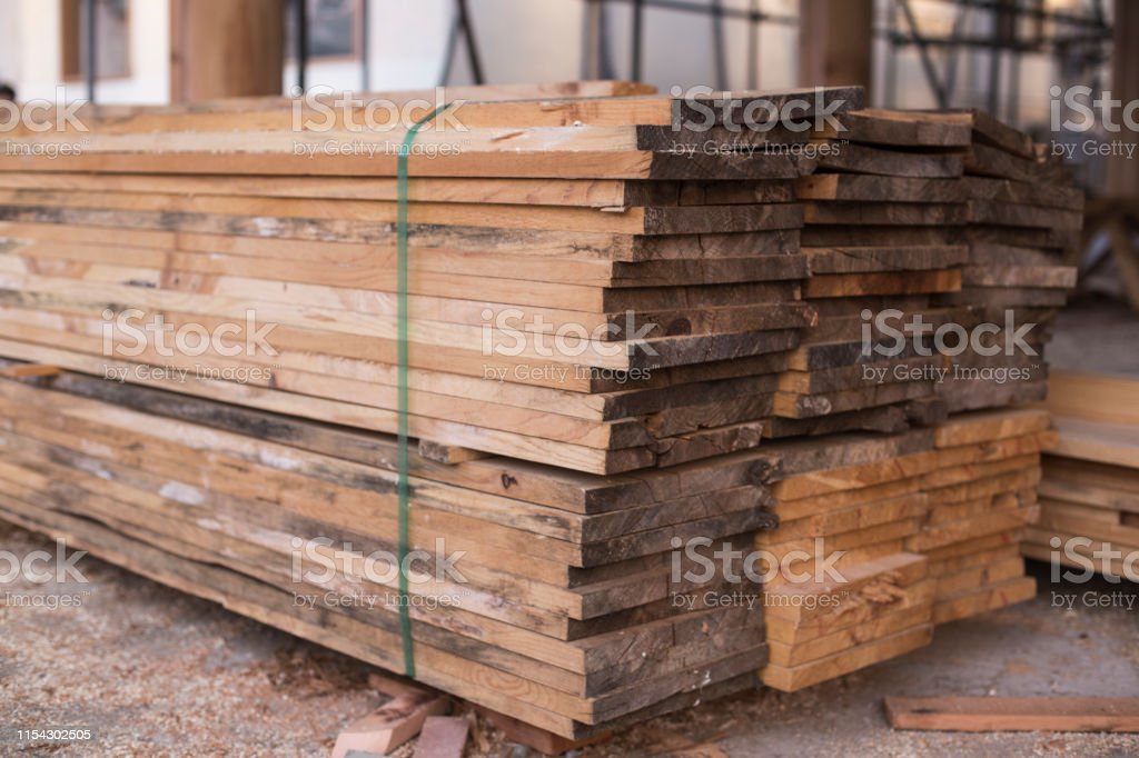 plywood boards stacked on the furniture industry