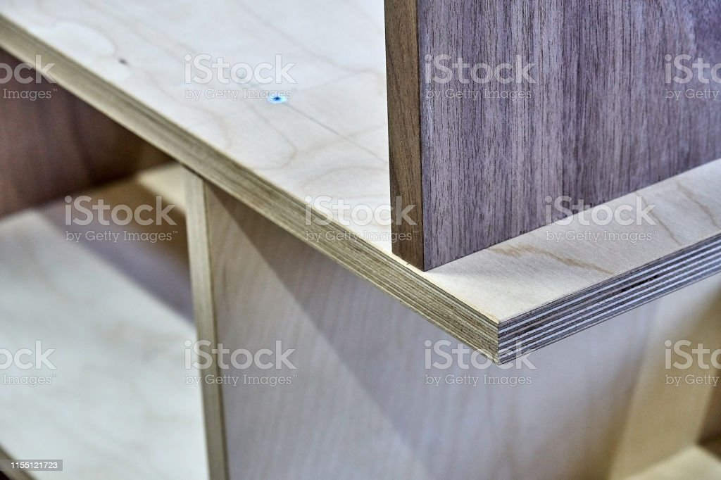 Beautiful professionally made plywood bookshelves in process of...