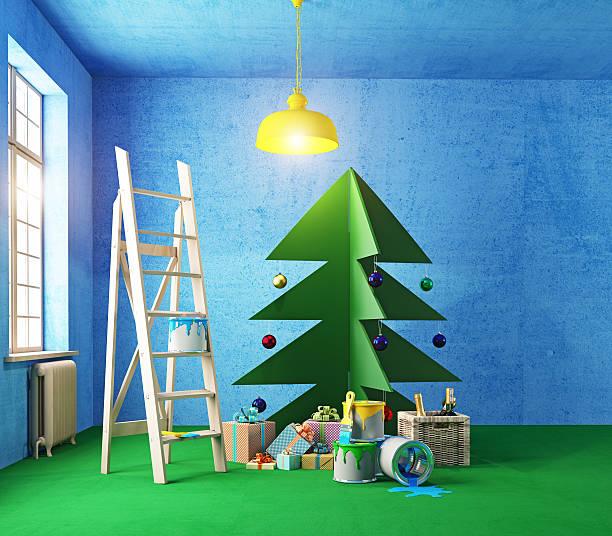 sperrholz weihnachtsbaum innen - diy xmas stock-fotos und bilder