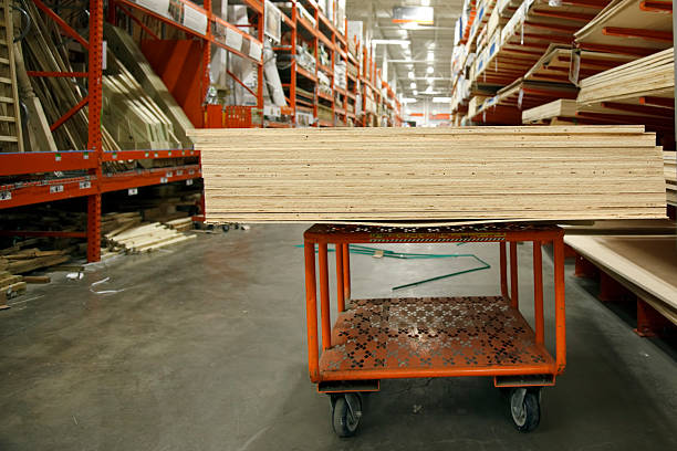 Plywood on a cart stock photo
