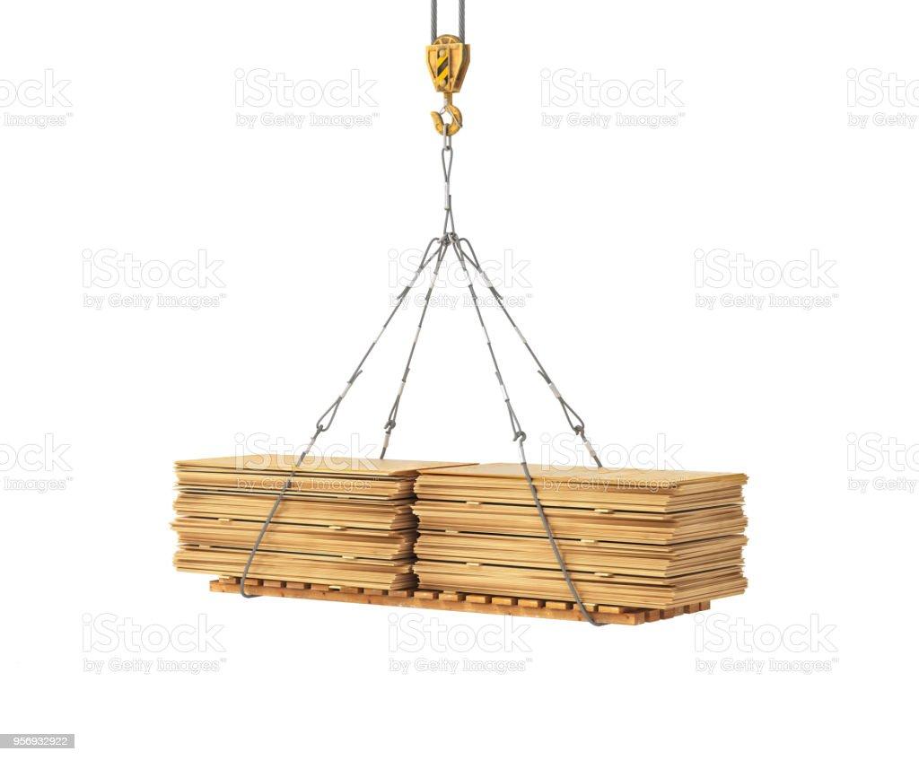 plywood on the crane 3d illustration stock photo
