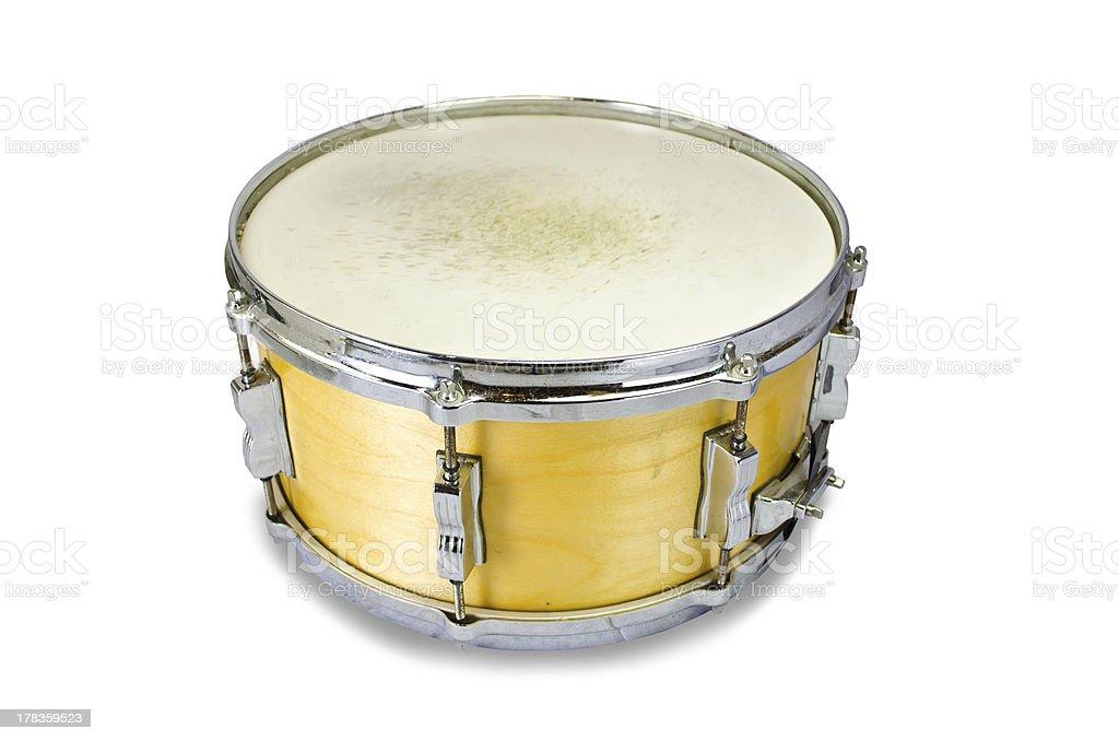 plywood snare drum isolated on white background stock photo