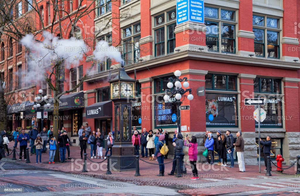 3 pm at Gastown,Vancouver,Canada stock photo