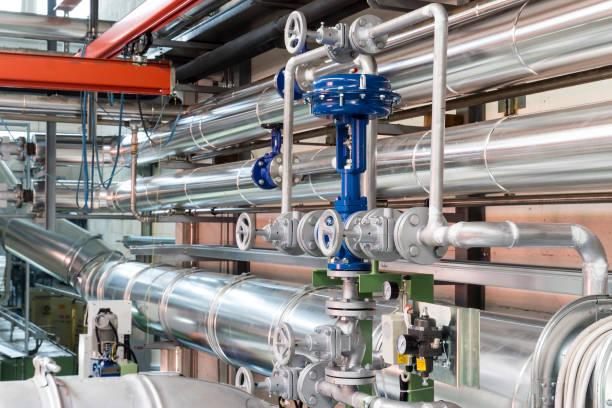 pneumatisk reglerventil i en ånga värmesystem - water pipes bildbanksfoton och bilder