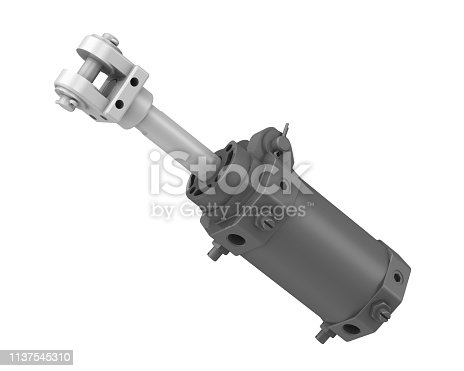 One gray pneumatic cylinder isolated on white background. 3D Illustration