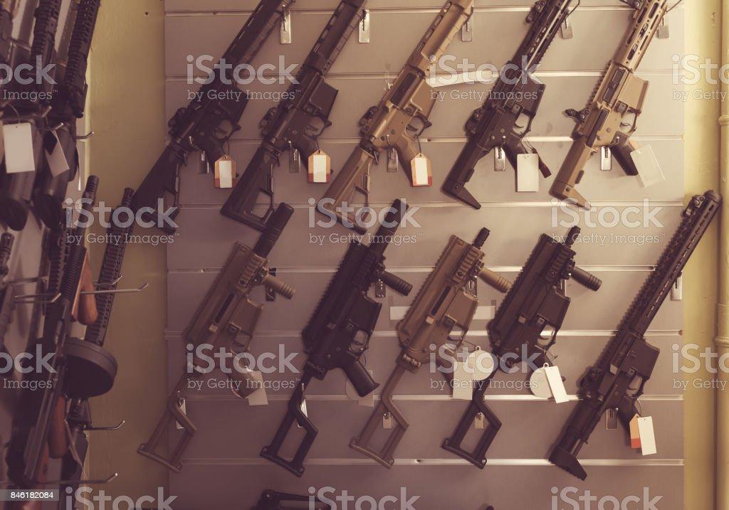 Pneumatic gun in shop stock photo