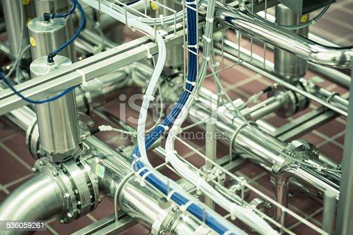 Pneumatic pipes in a food processing plant.