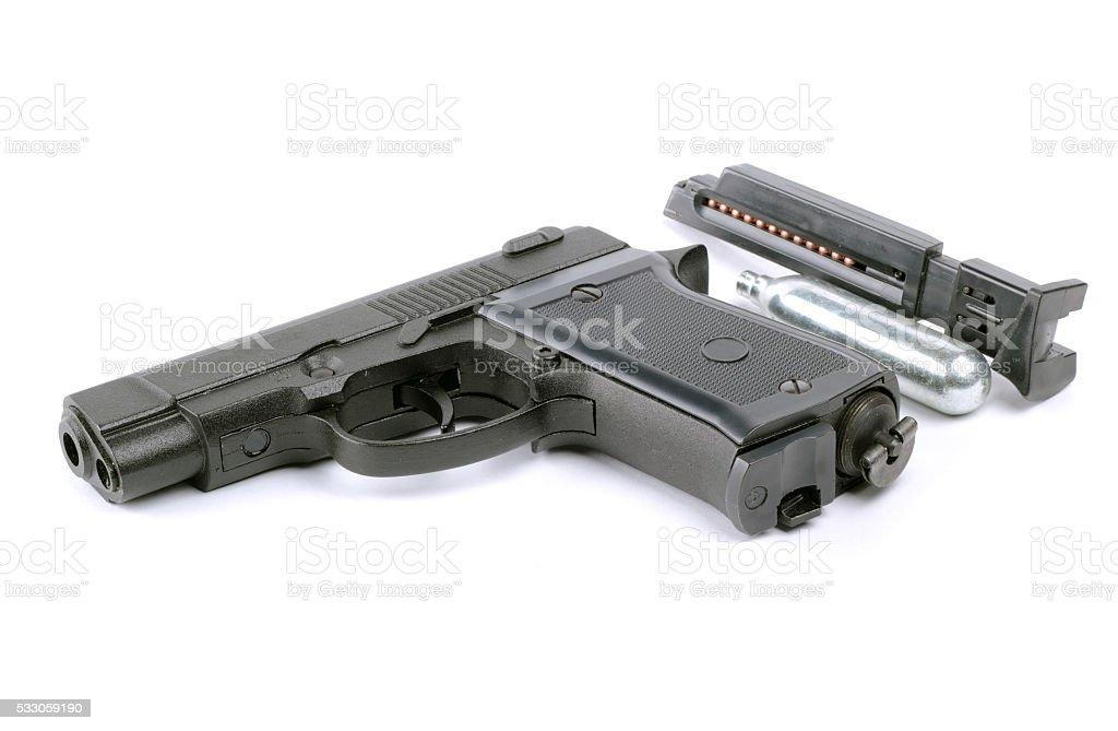 Pneumatic pistol isolated on white background stock photo