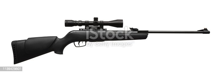 pneumatic rifle with an optical sight isolated on white background