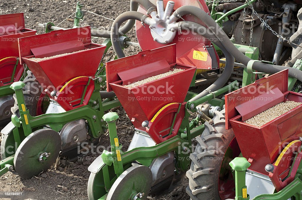 pneumatic seeder working bodies pneumatic seeder to work in the field Agricultural Field Stock Photo