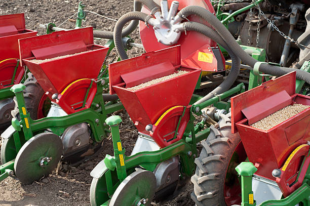 pneumatic seeder working bodies pneumatic seeder to work in the field monoculture stock pictures, royalty-free photos & images