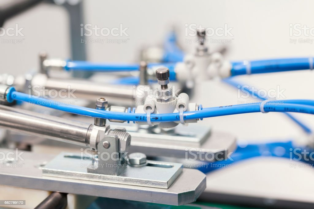 Pneumatic valve and piston stock photo