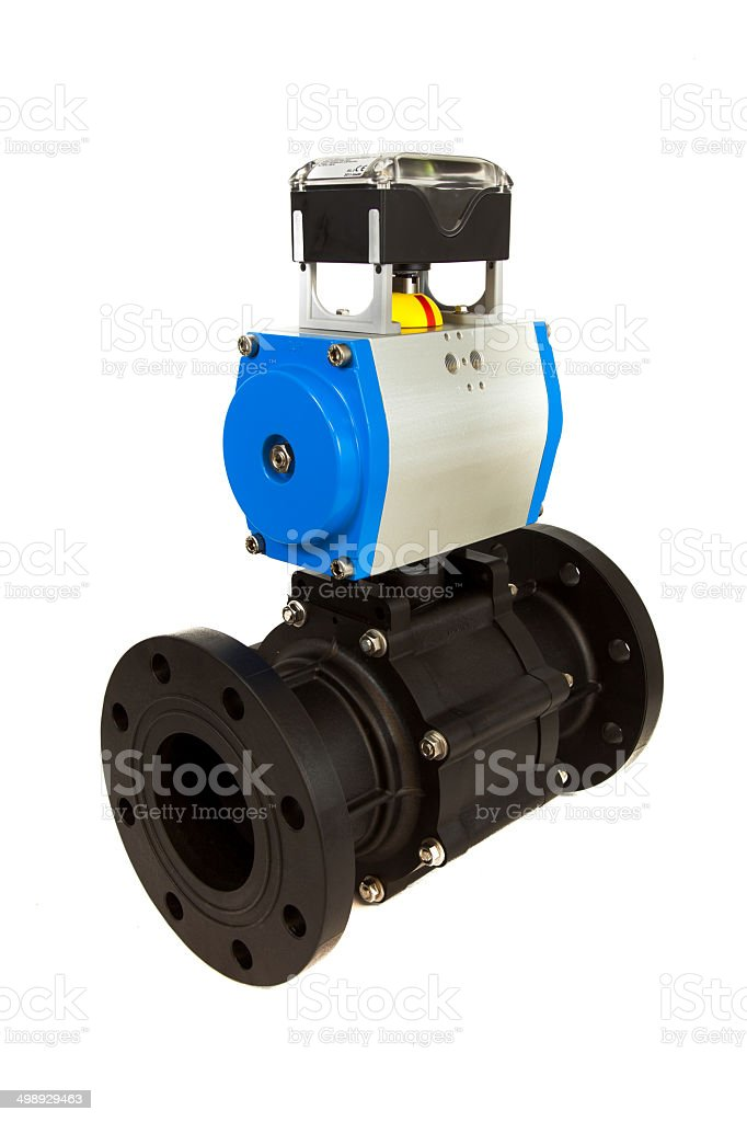 Pneumatic valve with actuator stock photo