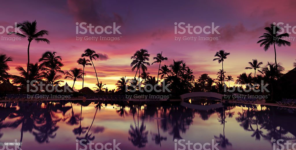 Pnorama Blue pink and red sunset over sea beach royalty-free stock photo