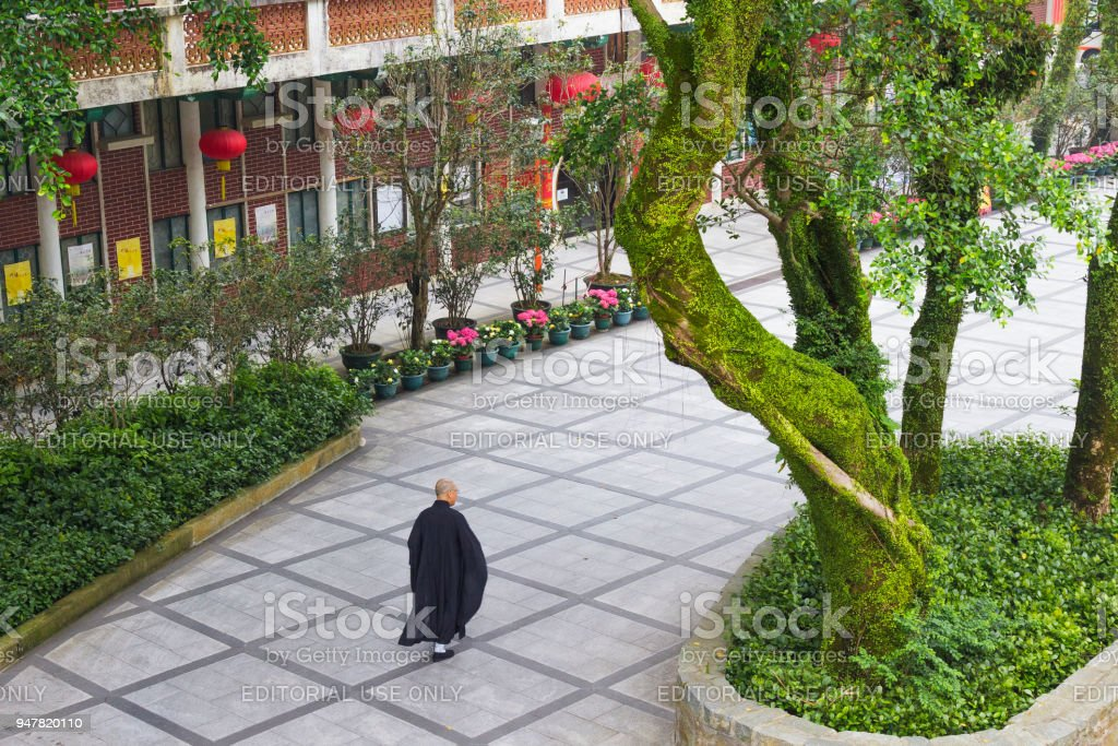 Po Lin Monastery and buddhist monk. stock photo