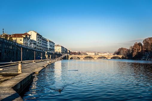 Po River and Bridge to Gran Madre Church in Turin Italy