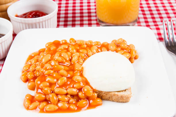 Poached and beans on toast stock photo