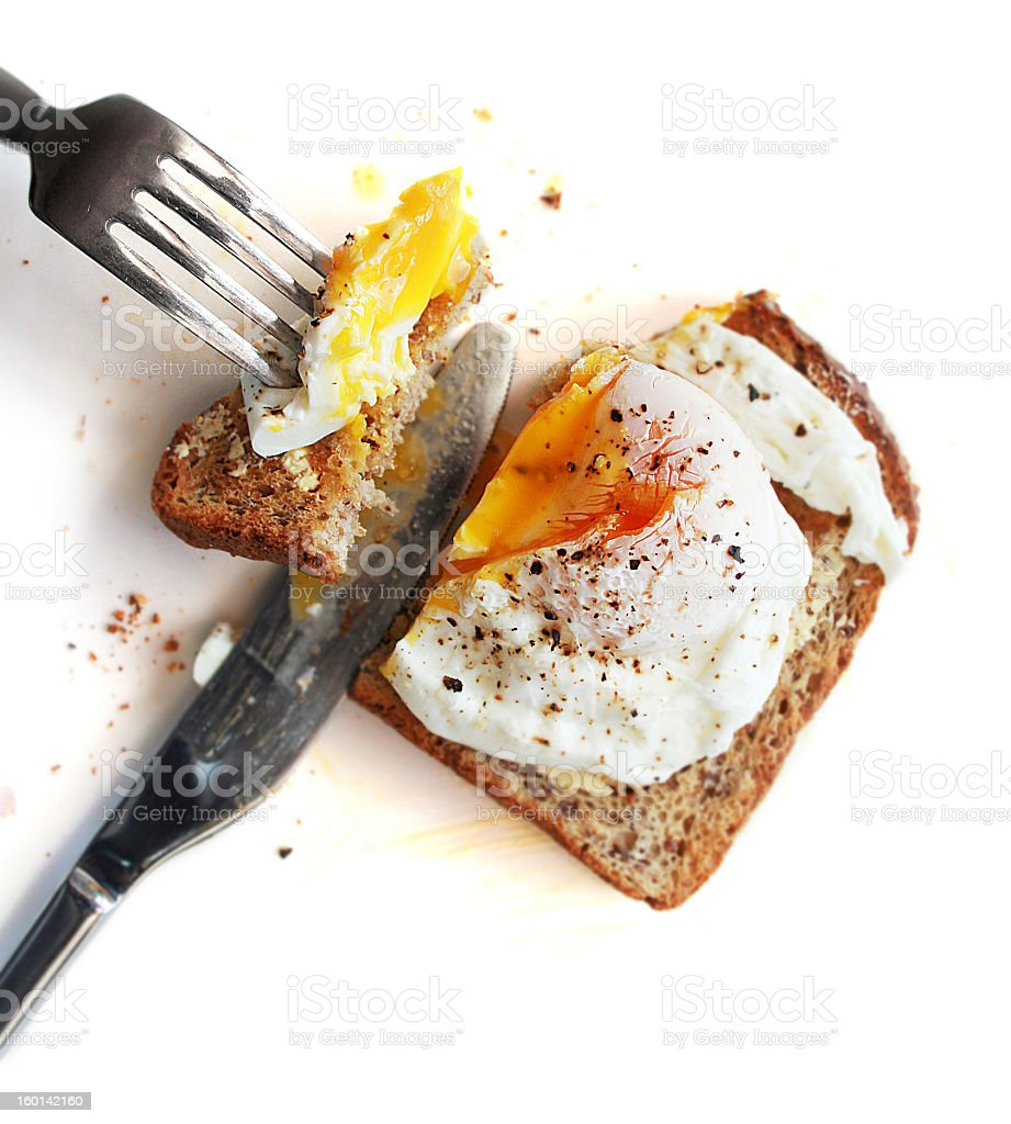 Poached egg on toast stock photo
