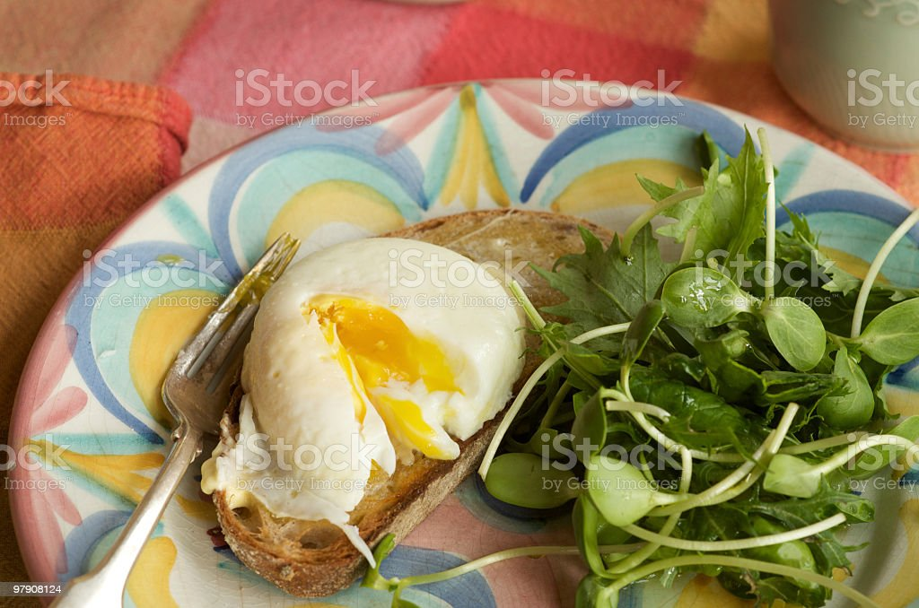 Poached Egg on Toast with Mixed Greens Salad royalty-free stock photo