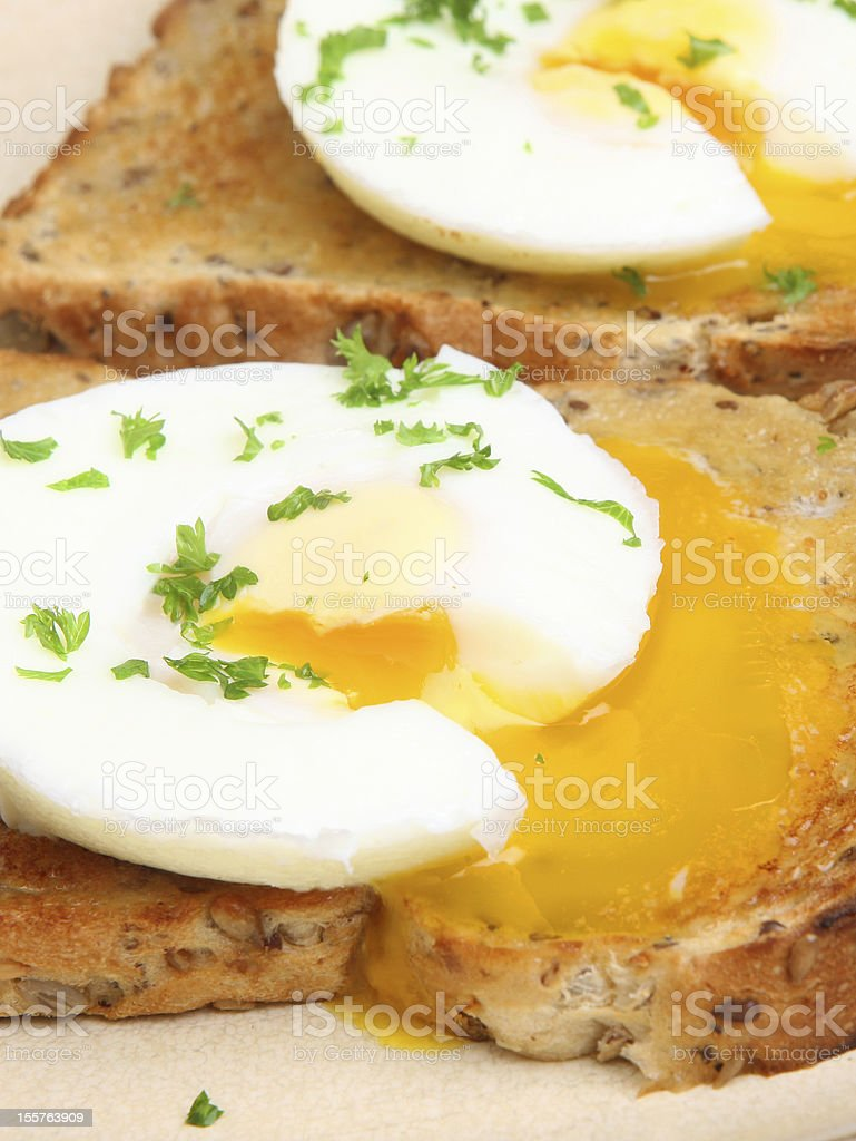 Poached Eggs on Toast Breakfast royalty-free stock photo