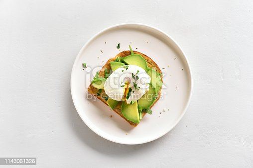 istock Poached eggs on toasted bread 1143061326