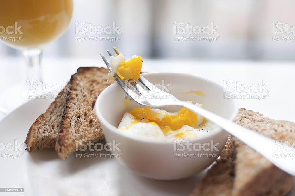 Poached Eggs, Toast, and Orange Juice royalty-free stock photo