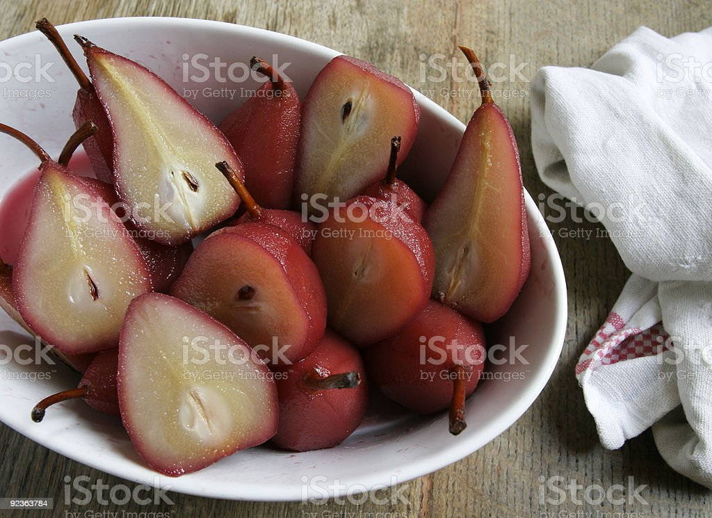 Poached pears in white dish. royalty-free stock photo