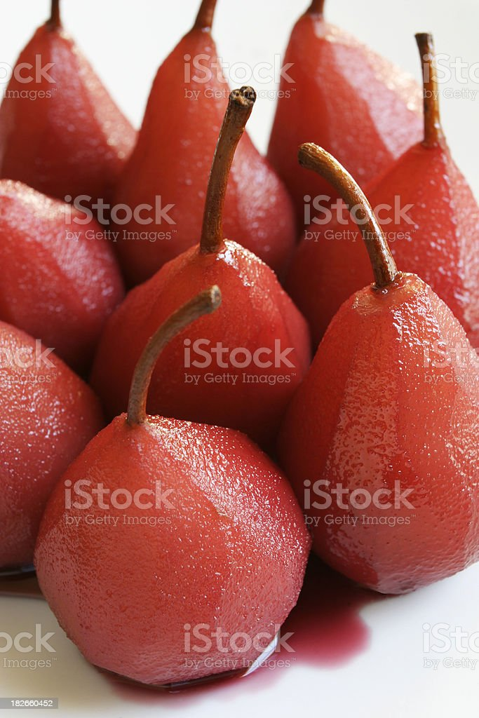 Poached pears tight group. royalty-free stock photo
