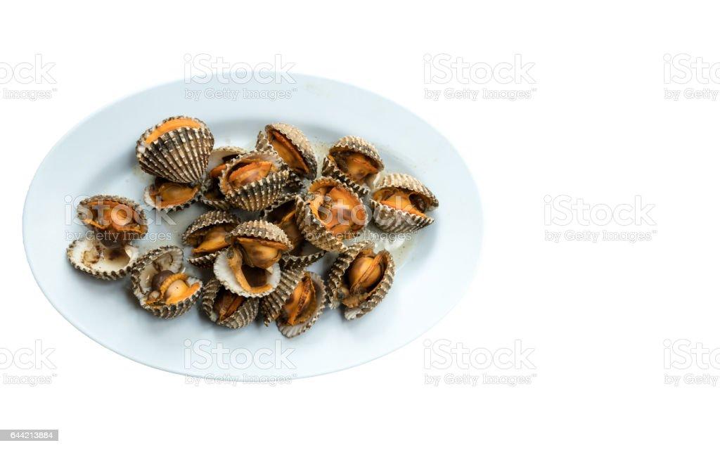 Poached scallop cockles - foto de stock