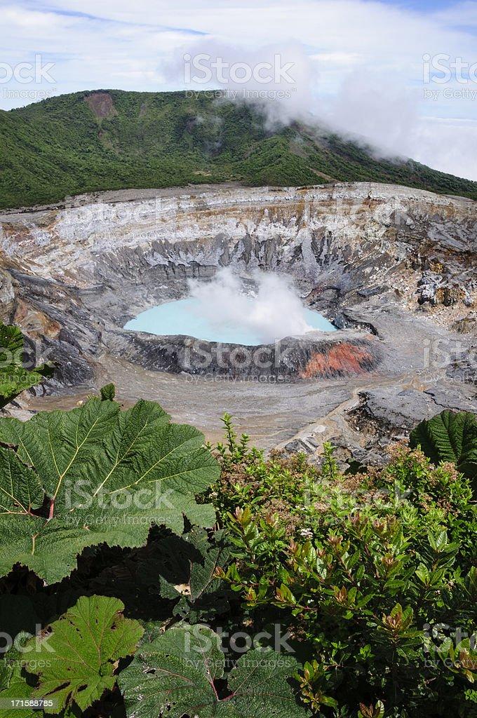 Poas Volcano crater, Costa Rica stock photo