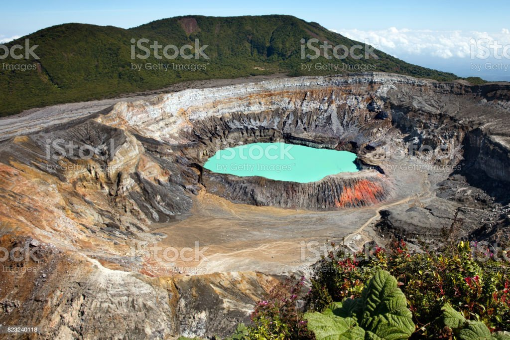 Poas Volcano Crater, Poas Volcano National Park, Costa Rica stock photo
