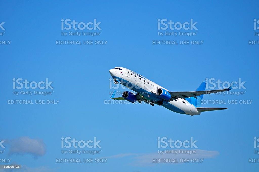 Pobeda Airlines Boeing 737 Next Gen airplane royalty-free stock photo