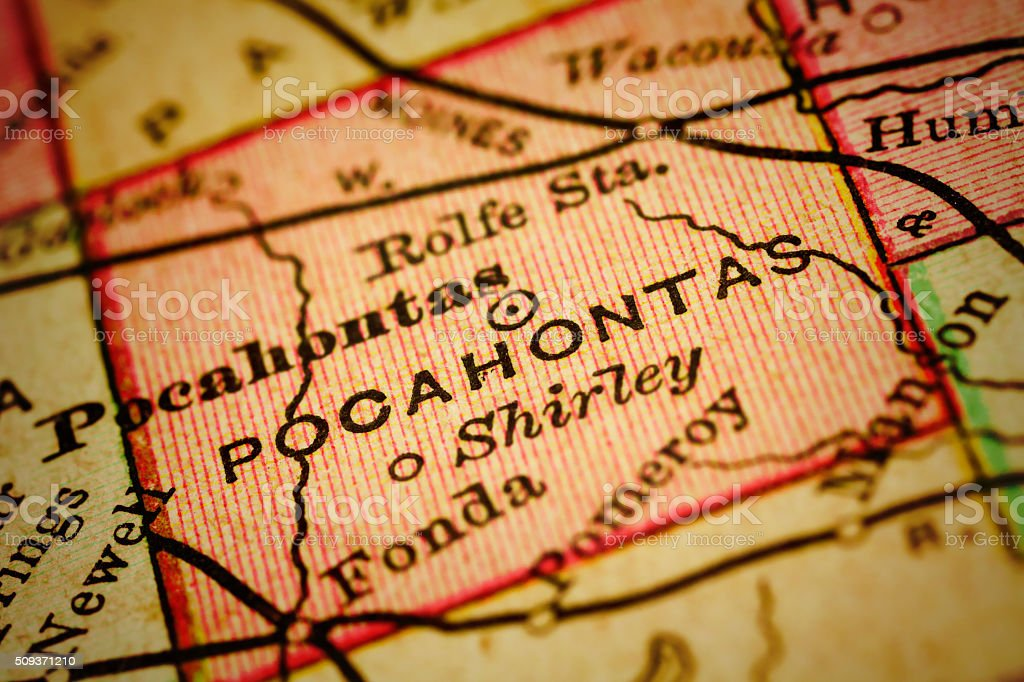 Close up on an antique map of the county of Pocahontas, state of...