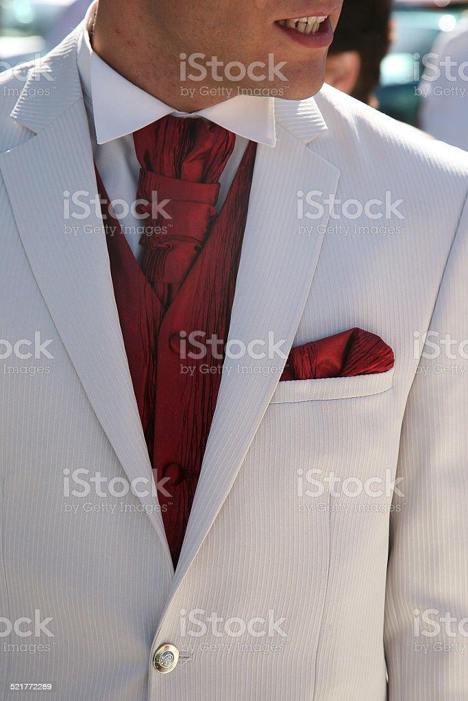Pochette de costume marié stock photo