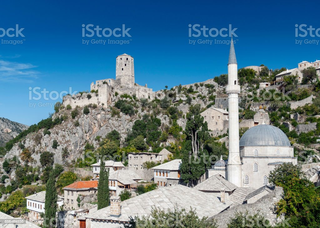 pocitelj village traditional old architecture buildings and mosque in Bosnia Herzegovina stock photo