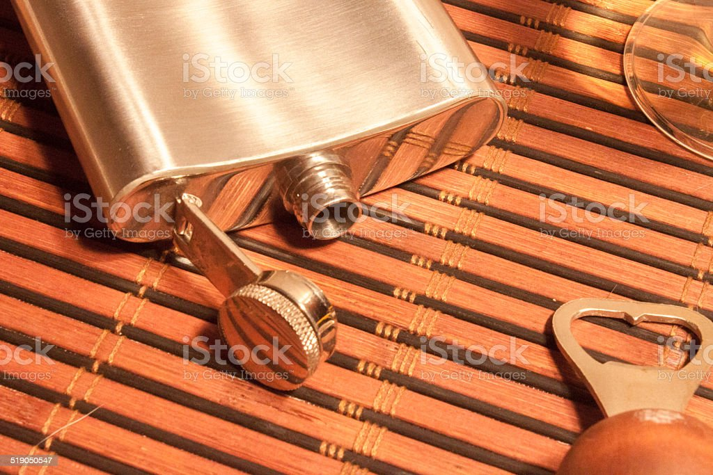 Pocket flask stock photo